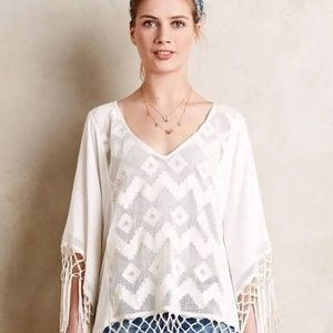 Anthropologie Lilka Fringe Lace Poncho Cover Up